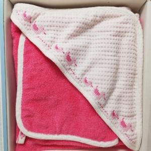 Chicco quadrato spugna piquet con asciugamano rosa